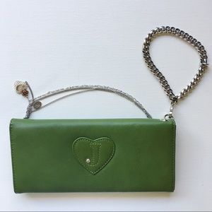 Juicy Couture Green Leather Wallet Wristlet